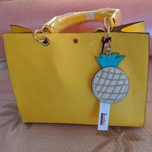 KATE LAUNDRY bright yellow Pineapple tote